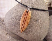 Wood Surfboard Necklace, Hand Carved Mens Surfer Necklace Burl Wood Pendant On Leather Necklace, Carved Burl Wood Jewelry Mens Necklace