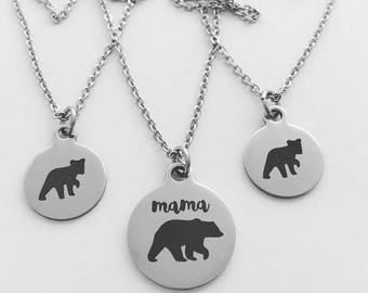 Mama Bear Necklace, Baby Bear Cub, Stainless Steel Silver Charms, Hypo Allergenic, Mommy and me