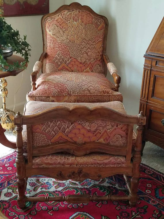 Chair With Ottoman Down Cushion Lounge Mid Century Bergere Regency Style Matching Ottoman
