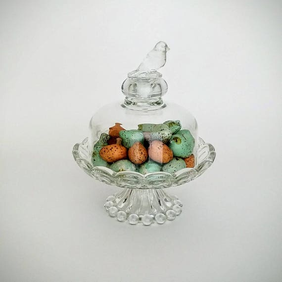 "Glass Crystal Cloche Dome With Bird On Crystal Pedestal-""Ships International"" Email For Rates"