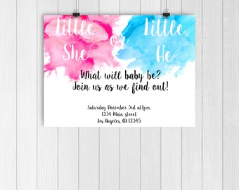 Blue Or Pink Gender Reveal Invite Blue Or Pink Confetti