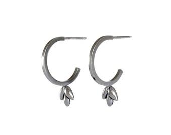 Foliage post hoop earrings in oxidized silver