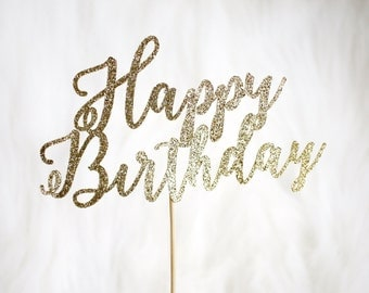 Happy Birthday Cake Topper - Glitter - Birthday. Smash Cake Topper. Birthday Party. First Birthday. Birthday Cake Topper. Birthday Decor.