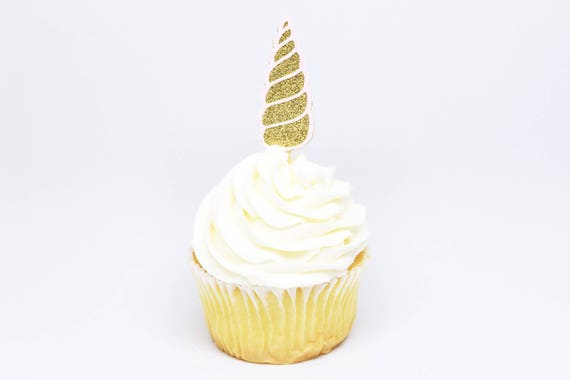 Unicorn Horn Cupcake Toppers - Gold + Light Pink Glitter - First Birthday Decor. Unicorn Party Decor. Birthday. Birthday Party Decor.