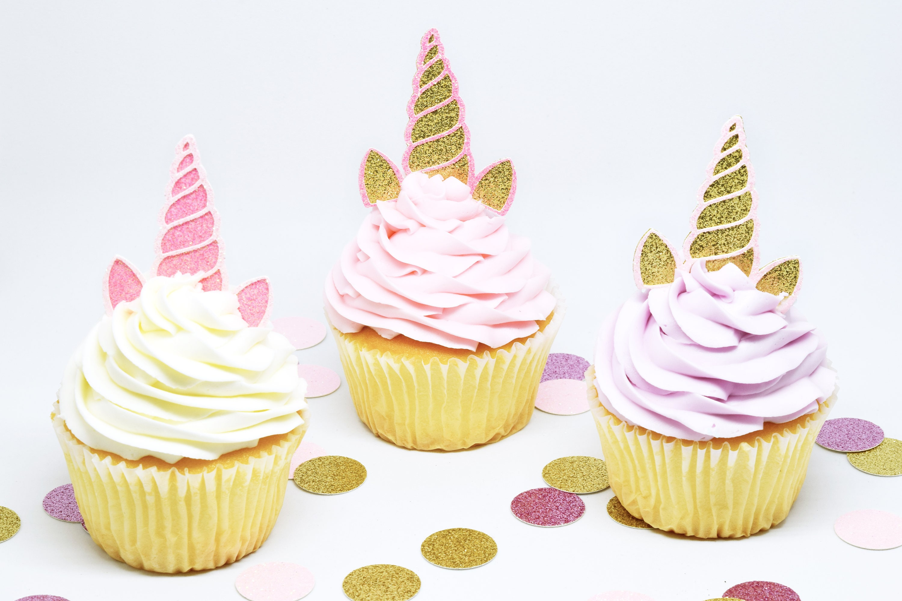 Unicorn Horn Ears Cupcake Toppers Glitter First