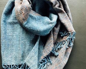 organic handwoven cotton shawl: Indigo blue and Java plum