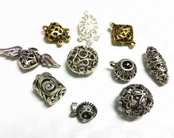 10pc mix size and color hollow metal jewelry finding-7819p