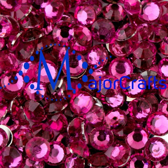 Bright Pink Flat Back Round Resin Rhinestones Embellishment Gems C18
