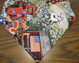Patriotic Picnic Table Runner, Patriotic Dresser Scarf, Patriotic Party Decor, Picnic Table Runner, Table Linen