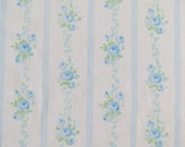 One Yard of Vintage Sheet Fabric - Blue Rose Stripe - 1 yd