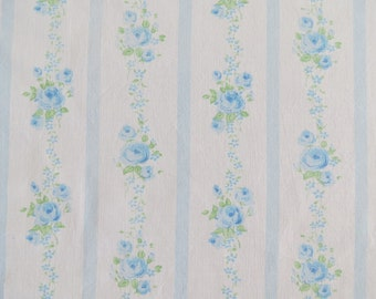 Vintage Sheet Fabric Fat Quarter - Blue Rose Stripe - 1 FQ