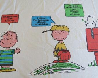 1970s Vintage Sheet - Peanuts Charlie Brown Border - Twin or Single Flat Sheet - Childrens Sheet