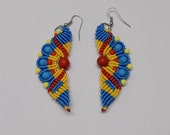 Wavy Micro Macrame  Earrings Beaded Red, Turquoise, and Golden Yellow