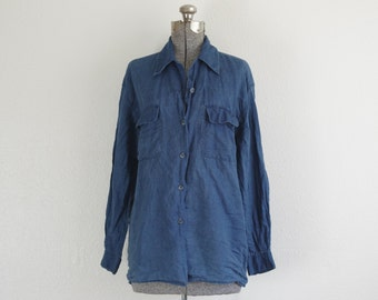 Anchor Blue Linen Blend Blue Button Down Shirt Size Medium | Made in Hong Kong