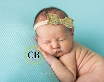 baby girl headband, gold headband, newborn headband, Baby Headbands, glitter bow, Hairbow, Baby Bows, baby girl, glitter bow head band, baby