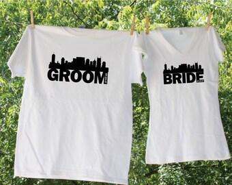 Bride And Groom Nashville Skyline Customized Date Matching Set - Set of 2