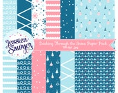 INSTANT DOWNLOAD, snowy Christmas digital papers for planner stickers, products, and crafts