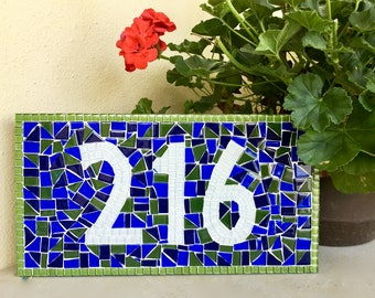 Green and Blue House Number Sign, Mosaic Address Plaque, Outdoor House Numbers