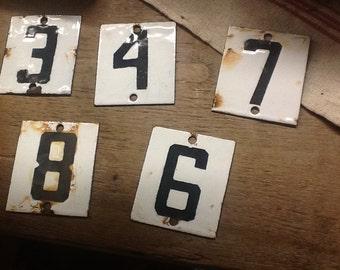 Vintage Enamel House Numbers