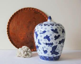 Vintage Ginger Jar - Large Ceramic Vintage Blue and White Butterfly Ginger Jar, Vase, Spice Jar, Tea Caddy