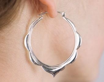 Hoop Earrings Sterling Silver - Silver Hoops - Boho hoops - solid sterling silver - ananda