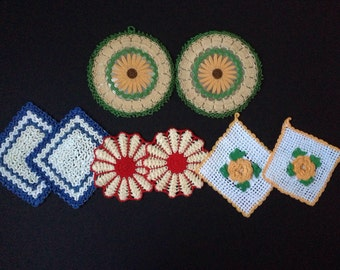 Pot Holders Hot Pads - variety of Four Pair - Primary Colors - 2 Unused