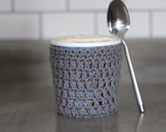 Gray Ice Cream Pint Cover, Reusable Cotton Ice Cream Cozy. Gift for roommate, friend, stocking stuffer for women. Gift for her Under 20