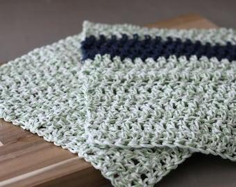 Green Kitchen Dishcloth Set of 2. Green and Navy Kitchen Textiles, Scrubbing Crochet Cotton Dishcloths. New House Gift, Wedding Gift.