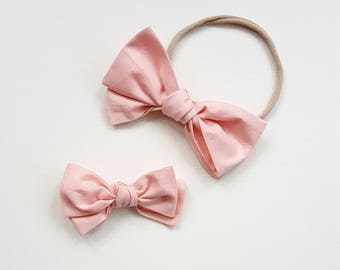 Blush Pink Tied Emmie bow headband or clip