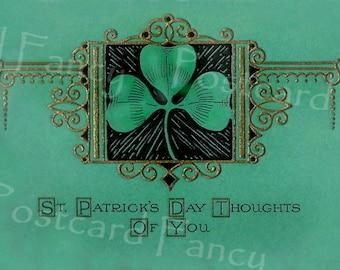 Printable Shamrock Art Download, Vintage Card, Instant Digital Image, St. Patrick's Day