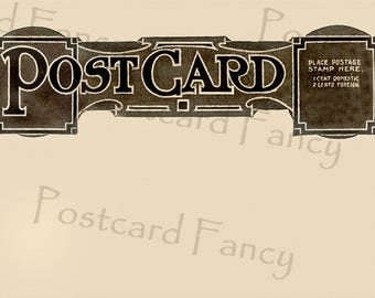 Bold Vintage POSTCARD BACK, Blank Template, Add Text or Picture, Instant DIGITAL Download, Printable Background Image