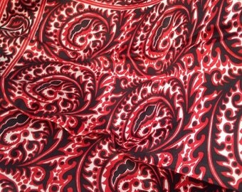Classic Vintage Black, White and Red Scarf Paisley Like