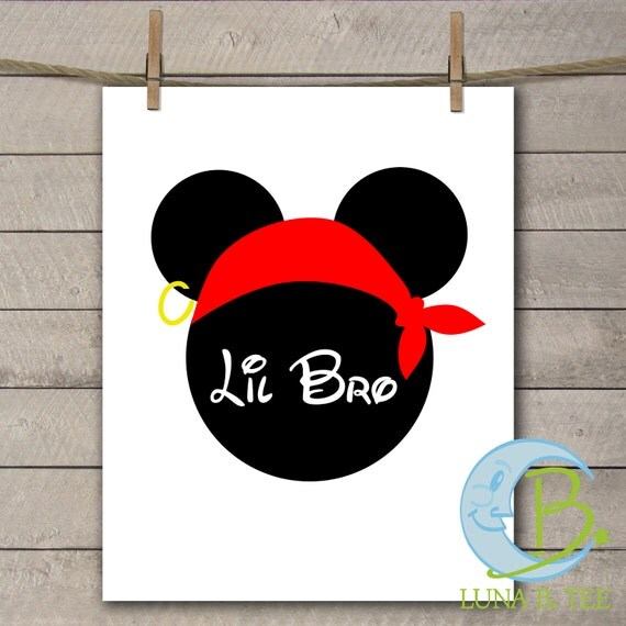 INSTANT DOWNLOAD Disney Family Vacation Cruise Pirate Night little Bro Brother Shirts Digital Printable DIY Iron On to Tee T-Shirt Transfer