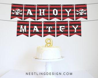 Pirate Banner | Ahoy Matey | Pirate Birthday Party | Pirate Party | Pirate Party Decorations | Printable Decorations | Garland | Skulls