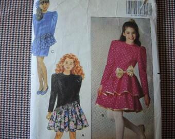 vintage 1990s Butterick sewing pattern 5127 Girls size 7-8-10 ruffled dress