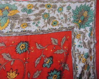 vintage 1980s rayon scarf shawl red yellow green floral large  34 x 36 inches