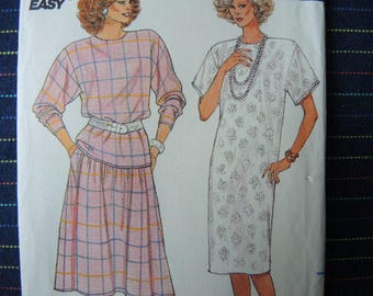 vintage 1980s Butterick sewing pattern 3670 Misses dress or top and skirt size 14-16-18  uncut