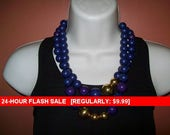Vintage chunky blue and purple bead necklace, statement necklace, bead necklace, vintage necklace