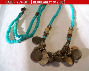 SALE Turquoise wood bead dangling charm necklace, hippie boho