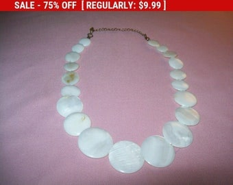 SALE Vintage white disc bead necklace, statement necklace