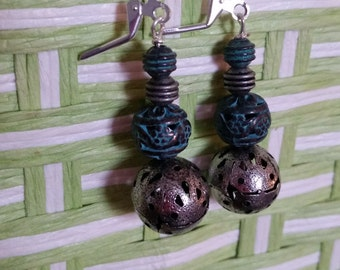 Silver and Blue Metal Bead Dangle Earrings