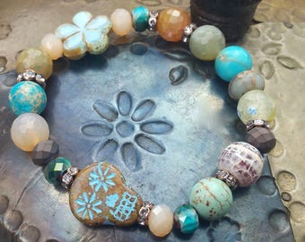 Sugar SKull Stretch Bracelet, bohemian bracelet,beachy jewelry, Luxe Jewelry, Neutral Jewels