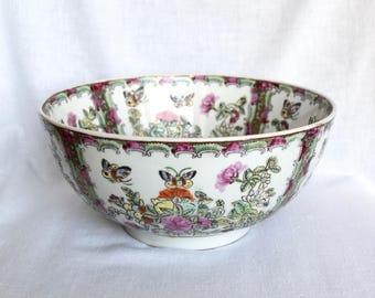 Vintage Chinese bowl…Famille Rose bowl...large Chinese Famille Rose bowl....Qing Dynasty style...10 inches.