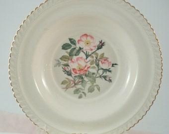 Vintage Harker Pottery Wild Rose Soup Bowls Set of 2 Shabby Cottage Vintage