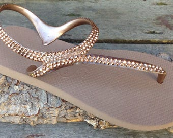 Rose Gold Metallic Havaianas Flip Flops Gladiator Flash ankle strap flat Custom Bling w/ Swarovski Crystal Rhinestone Jewels Thongs Shoes