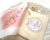 Happy Tears Wedding Hanky Vintage Pink and White Handkerchief Mother of Bride Gift Mother of Groom Gift Something Old Maid of Honor Gift