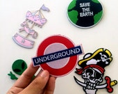 London underground iron on, patches, iron on patches, iron on for denim jacket, jean jacket embroidered patches, monogram tote, dad hat