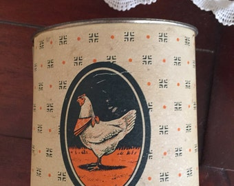 Oval Tin Canister With Hen In Bandana