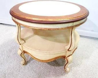Round French Coffee Table Vintage French Provincial Mid Century Modern End Table