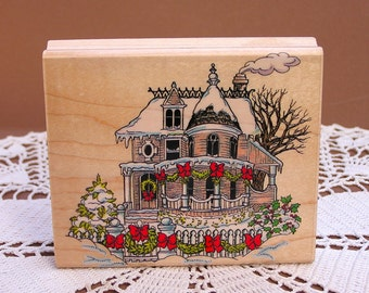 Christmas Stamp, Victorian Mansion Stamp, Penny Black 1993, Home For The Holidays, wood mounted rubber stamp, unused, previously owned